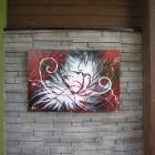 Toile Extérieure Rouge Abstraite