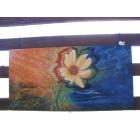 Toile Extérieure Fleur Abstrait Orange et Bleu