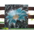 Toile Extérieure Abstrait Fleur Turquoise
